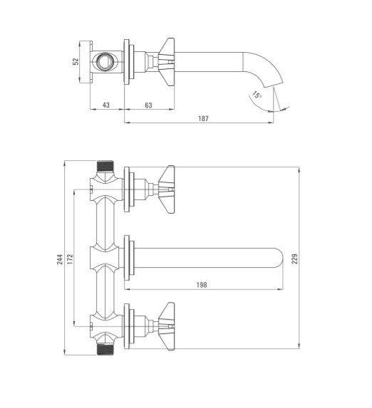 DEANTE - Bateria umywalkowa podtynkowa TEMISTO Nero/Czarna BQT N54D