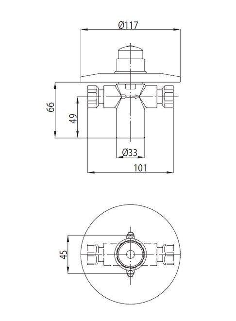 ARMATURA KRAKÓW - Zawór wodny, przepływowy. Zawór natryskowy - podtynkowy z otwarciem czasowym 182-000-00