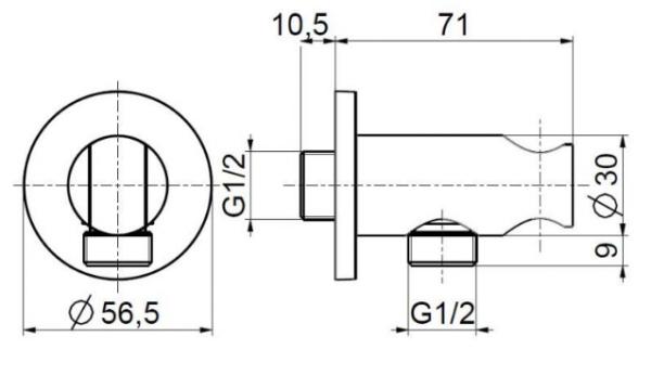 ARMATURA KRAKÓW - Uchwyt rączki natrysku okrągły 845-055-00 do baterii podtynkowej