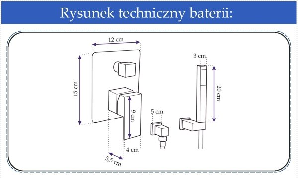 REA - Bateria podtynkowa dwu funkcyjna z natryskiem punktowym NIRO 3