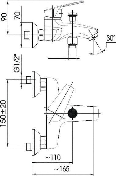 ARMATURA KRAKÓW - RODON bateria wannowa ścienna 454-020-00