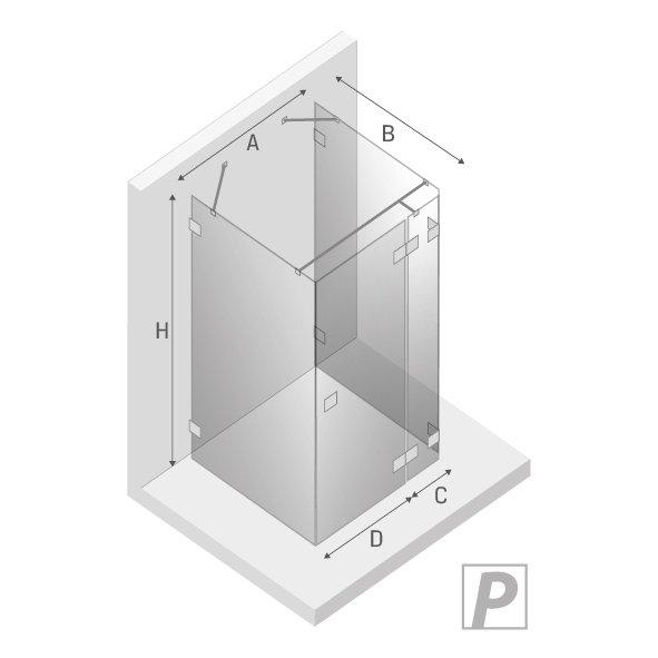 NEW TRENDY- Kabina prostokątna przyścienna 80x100 EVENTA LINIA PLATINIUM EXK-0174/75