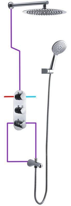 BW TECH - Zestaw natryskowy podtynkowy FOBOS chrom Ultra Slim z wylewką wannową