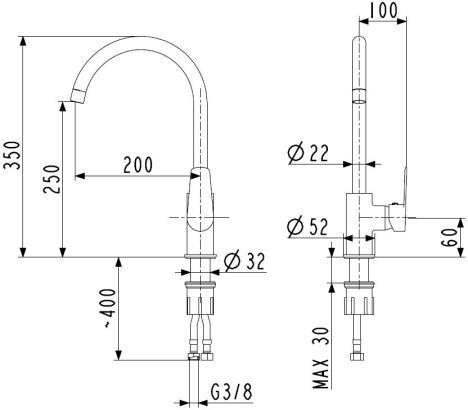 ARMATURA KRAKÓW SOFIT bateria zlewozmywakowa stojąca boczna 5113-815-00