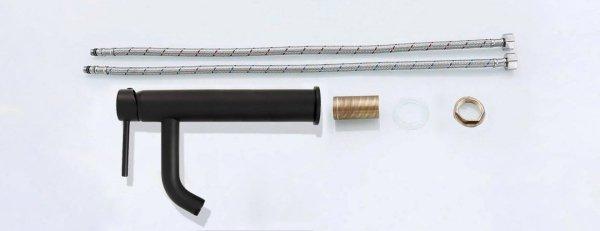 REA - Bateria umywalkowa nablatowa LUNGO BLACK MAT wysoka