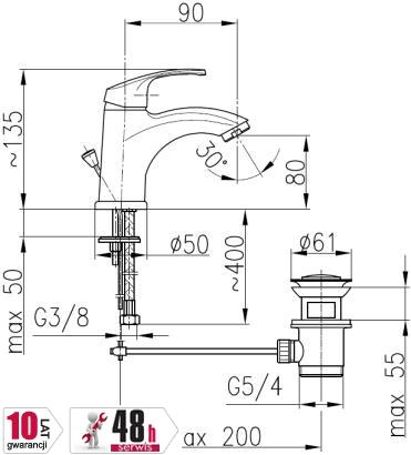 ARMATURA KRAKÓW - Bateria umywalkowa stojąca KRZEM 4212-815-00