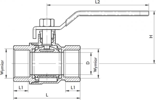 ARMATURA KRAKÓW - zawór wodny, pełnoprzepływowy, nakrętno-nakrętny z dławikiem 700-110-15