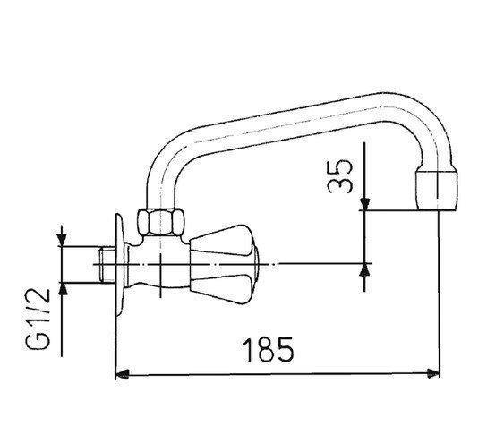 """ARMATURA KRAKÓW - Zawór wodny, wypływowy umywalkowy ścienny z wylewką typu """"U"""" 220-310-00"""