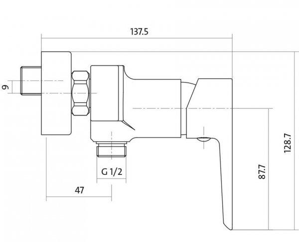 CERSANIT - Bateria natryskowa ścienna MILLE CHROM Solution S951-031