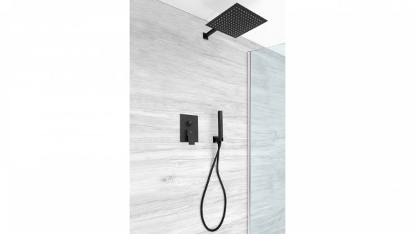 REA Zestaw natryskowy podtynkowy z baterią, deszczownicą i ramieniem ściennym, słuchawką FENIX BLACK