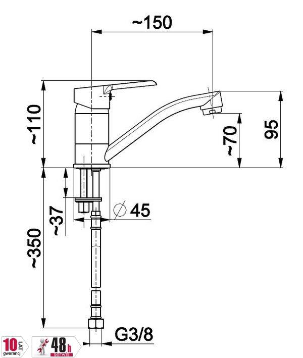 ARMATURA KRAKÓW - Bateria jednouchwytowa, zlewozmywakowa stojąca SEELIT 5812-915-00