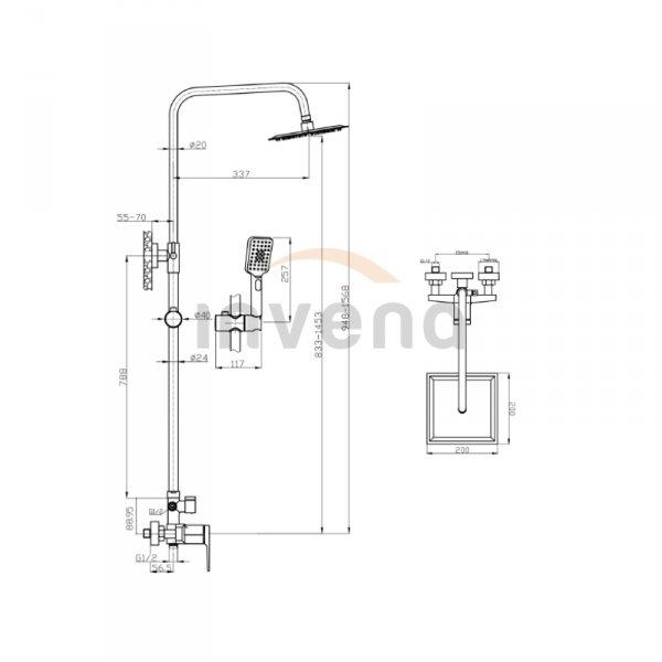 INVENA - Deszczownica z baterią natryskową MIDNIGHT Black/Gold Rose  Czarny/Rożowe Złoto AU-35-D14-V