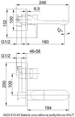 ARMATURA KRAKÓW - HALIT bateria umywalkowa podtynkowa ścienna 4829-810-00