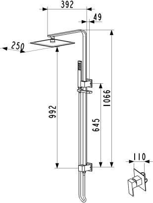 ARMATURA KRAKÓW - deszczownia CASSINI z baterią termostatyczną 4126-910-00