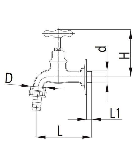 ARMATURA KRAKÓW - Zawór wodny, wypływowy 3/4 ze złączką do węża G1 CHROM 110-034-00