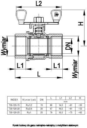 ARMATURA KRAKÓW - kurek kulowy do gazu, nakrętno-nakrętny 730-120-25