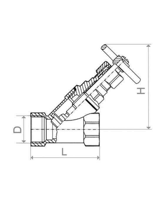 ARMATURA KRAKÓW - Zawór parowy skośny żeliwny 1'' 191-010-25