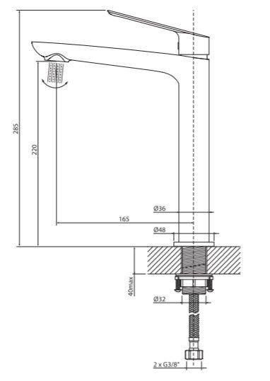VEDO - Bateria DESSO NERO umywalkowa wysoka VBD4003CZ