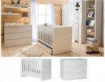 LORA Babyzimmer / Kinderzimmer Sparset | 2-teilig | Kinderbett 140 x 70 cm + Kommode | weiß matt