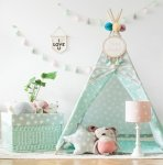 Tipi/Teepee Zelt Lovely Stars Grau/Mint | Spielzelt | Kinderzelt | Indianerzelt