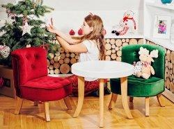 Somebunny Premium Sparset SAMT 3 in 1 | 2 x Kindersessel + Kindertisch rund 50 x 50 cm | verschiedene Farben