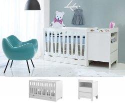 WOLKE Kinderzimmerset 2-teilig | Babybett + Kommode mit Kommode (klein) | weiß