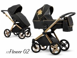 Kombikinderwagen EMOTION XT | Flower 01 | Black Eco Leder | Alu Gestell in Gold