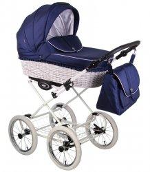 CLASSICO RETRO | 2 in 1 mit Liegewanne und Sportwagen | oder 3 in 1 mit Autoschale | Kombi-Kinderwagen |  Blau | Naturweidenkorb in Weiß