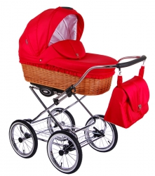 CLASSICO RETRO | 2 in 1 mit Liegewanne und Sportwagen | oder 3 in 1 mit Autoschale | Kombi-Kinderwagen | Rot | Naturweidenkorb