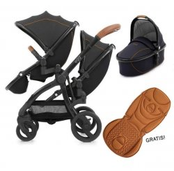 Geschwisterwagen | Zwillingskinderwagen  EGG Stroller | + 1 Liegewanne/ 2 Sportsitze + Sitzauflage gratis  | BabyStyle | Espresso