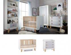 DOTTY Babyzimmer / Kinderzimmer Sparset   2-teilig   Kinderbett + Wickelkommode   weiß/grau