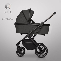 CAVOE Axo | Kombi-Kinderwagen 2 in 1 mit Liegewanne + Sportwagen + Wickeltasche | oder 3 in 1 mit Autoschale | SHADOW/  Dunkelgrau