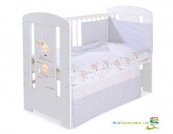 Babybett | Gitterbett | Kinderbett SWEET BEAR CREAM | Kiefer massiv | Weiß lackiert