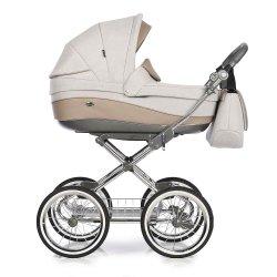 Kombikinderwagen Classico Emma | 2 in1 SET mit Babywanne & Sportsitz | Chromgestell mit grauem Griff | Beige