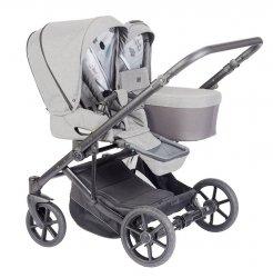 TWIN DUO Geschwisterwagen/ 1 Babywanne+ 2 Sportsitze, Alu Rahmen mit 4 Reifen | Wickeltasche gratis HELLGRAU