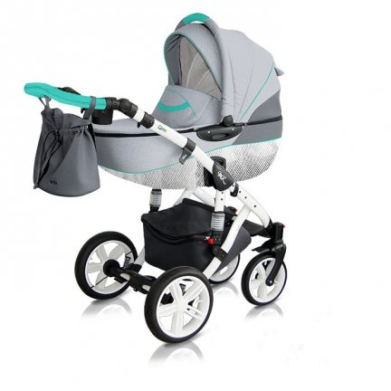 Classico VIVA | Kombi Kinderwagen | Light Grey/ Türkis| Kollektion 2018 | Alu Gestell | Carbon White