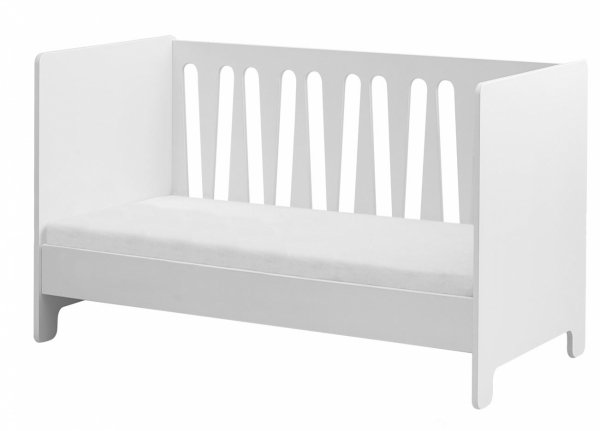 WOLKE Kinderzimmer Set 3-teilig | Kinderbett + Wickelkommode (groß) + Kleiderschrank 3-türig | weiß