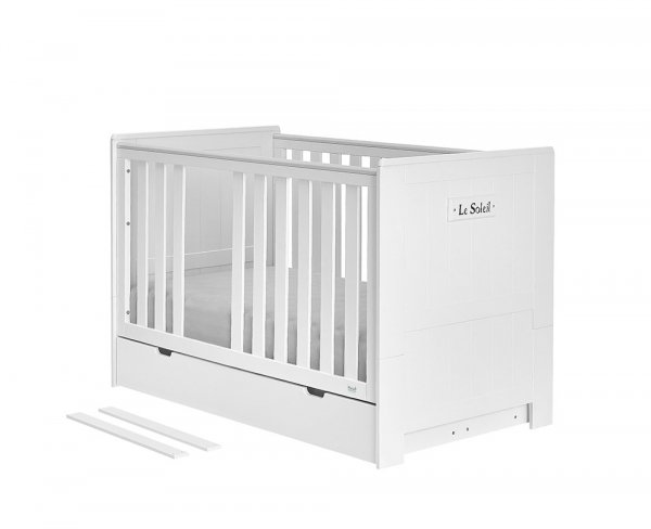 4 in 1 SET | (Baby-) Kinderbett LAMARE 120 x 60 cm | mit Bettschublade, Lattenrsot & Rausfallschutz | Massivholz, Weiß