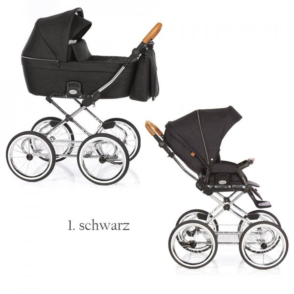 CLASSICO COSS | NAVY | 2 in 1 mit Liegewanne und Sportwagen | oder 3 in 1 mit Autoschale | Kombi-Kinderwagen | Klassisches Gestell in Hochglanz Chrom