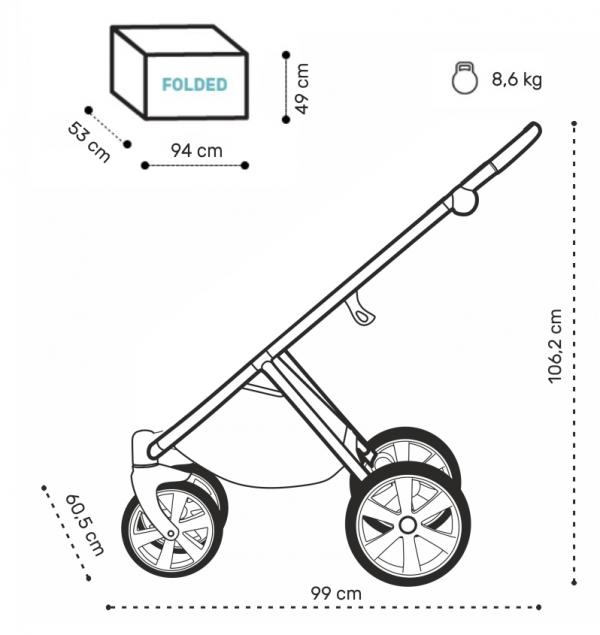 NOORDI Luno | Moon Rock/ Beige| Kombi-Kinderwagen 2 in 1 mit Liegewanne und Sportwagen | oder 3 in 1 mit Autoschale