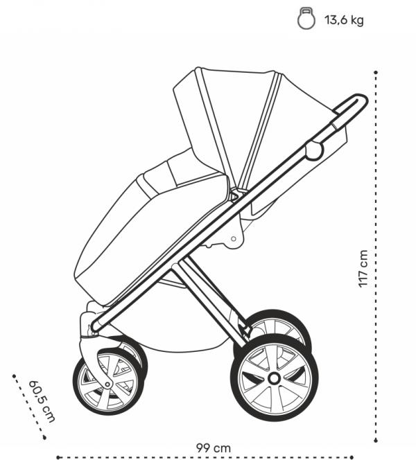 NOORDI Luno   Midnight/ Schwarz   Kombi-Kinderwagen 2 in 1 mit Liegewanne und Sportwagen   oder 3 in 1 mit Autoschale
