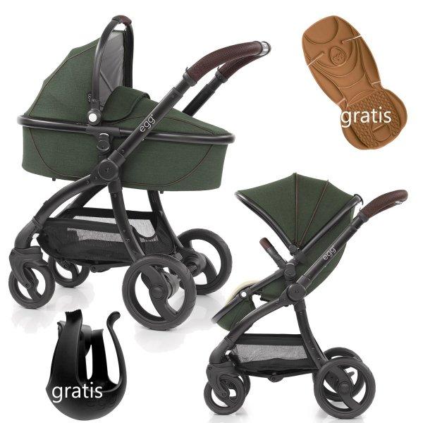 Kombikinderwagen EGG Stroller | Babywanne + Sportsitz +Alu-Gestell | + Becherhalter &  Sitzauflage gratis | County Green