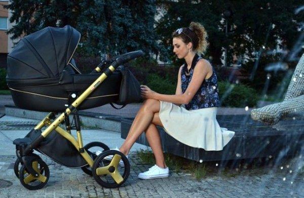 PRESTIGE COMFORT Limited Edition | 2 in 1 mit Liegewanne und Sportwagen | oder 3 in 1 mit Autoschale | Kombi-Kinderwagen | GOLD/ Black  Eco Leder