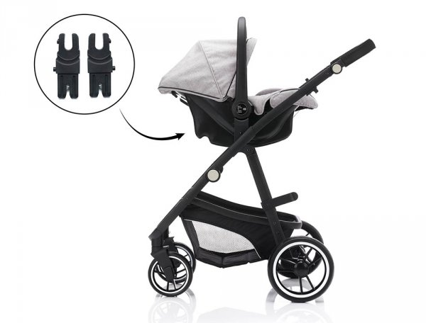 FILL Kombikinderwagen 3 in 1 | Grey | Alu Gestell in Schwarz | Fillikid