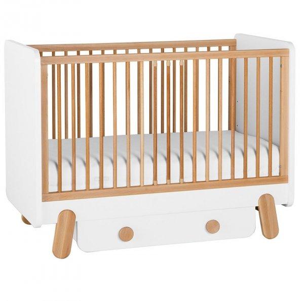 4 in 1 SET | DOTTY Babybett / Kinderbett mit Bettschublade, Lattenrost & Seitenteil | 60 x 120 cm | weiß/grau