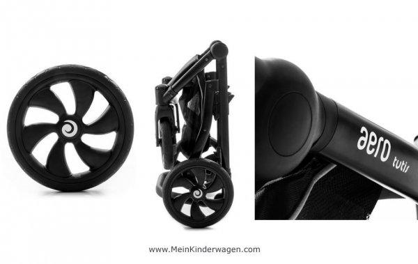 Kombikinderwagen AERO TUTIS | ECO Leather | Silver Moon | Gestell in Schwarz