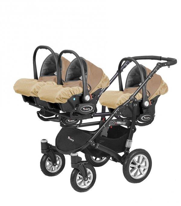 Kombikinderwagen (Drillings-,Zwillings-,Geschwisterwagen) Classico Trippy | LATTE | 3 x Babywannen + 3 x Sportsitze beige