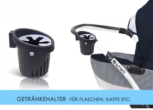 Kombikinderwagen Shell Exclusive | Alu Gestell in Weiss | Dunkelblau/ Weiss