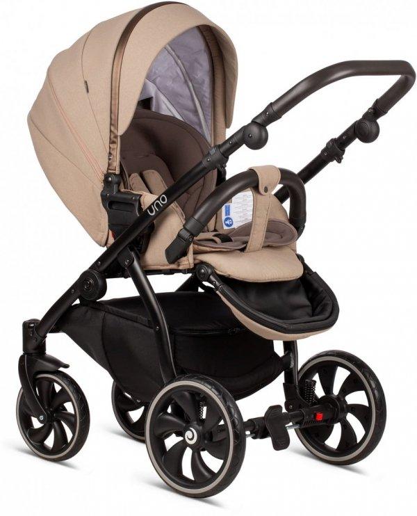 UNO TUTIS | Nougat | Kombi-Kinderwagen 2 in 1 mit Liegewanne und Sportwagen | oder 3 in 1 mit Autoschale | Gestell in Grau