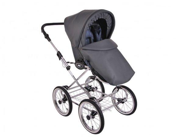 Retro Deluxe ECO-Leder | 2 in 1 mit Liegewanne und Sportwagen | oder 3 in 1 mit Autoschale | Kombi-Kinderwagen | Dunkelgrau/ Naturweidenkorb